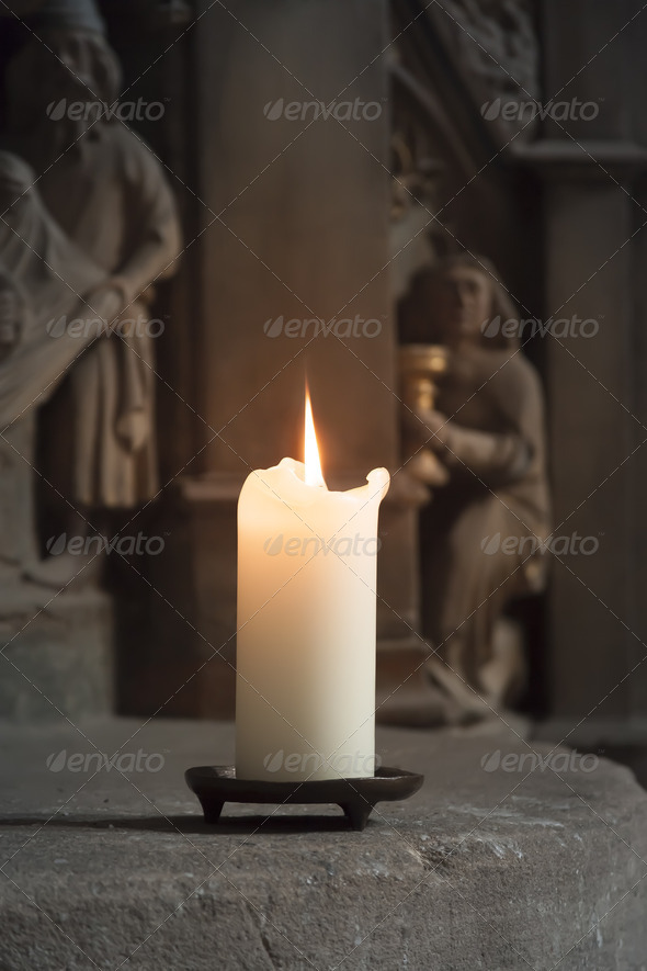 candle in a church - Stock Photo - Images