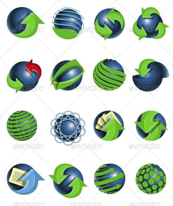 Blue balls and green arrows - Decorative Symbols Decorative