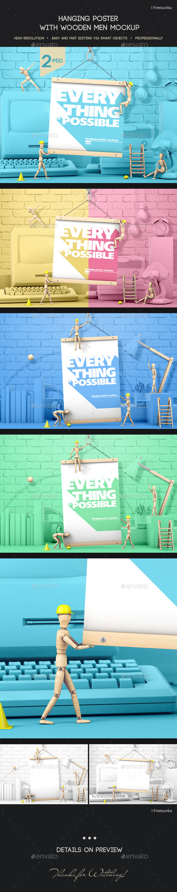 Hanging Poster With Wooden Men Mockup