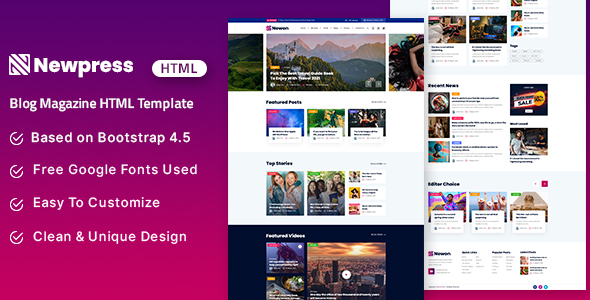 Newpress - Blog Magazine HTML Template