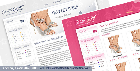 Shop Star – 2 Color Template inc PHP Shopping Cart