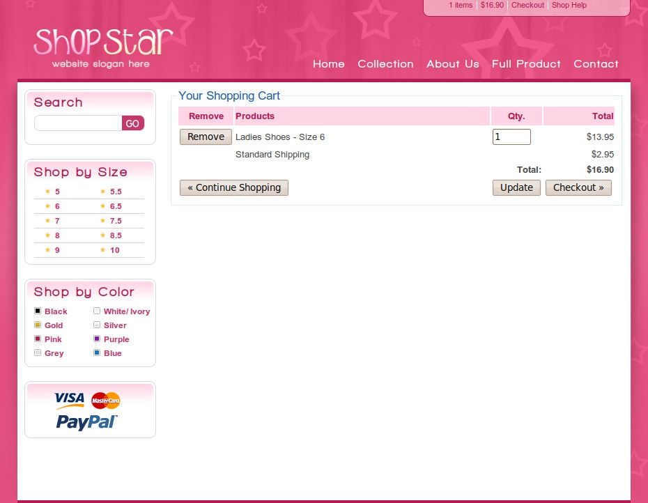 Shop Star - 2 Color Template inc PHP Shopping Cart by dtbaker ...