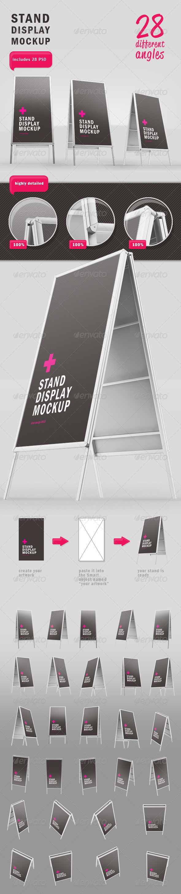 Stand Display Mockup 28 Different Angles - Signage Print