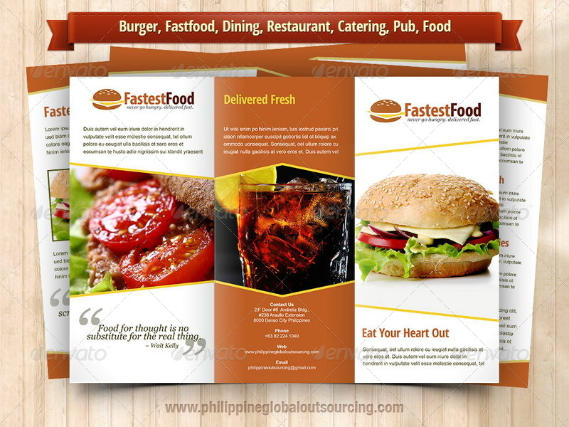 A Trifold Brochure Template PSD Variations By - Food brochure templates