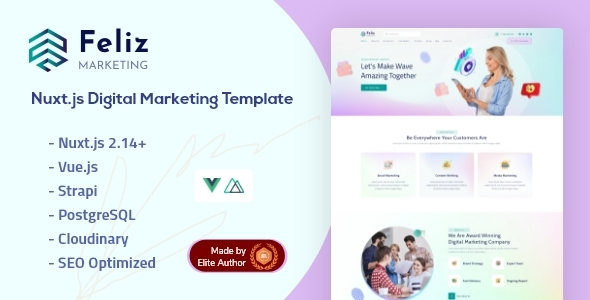 Feliz - Nuxt.js Strapi Digital Marketing Template