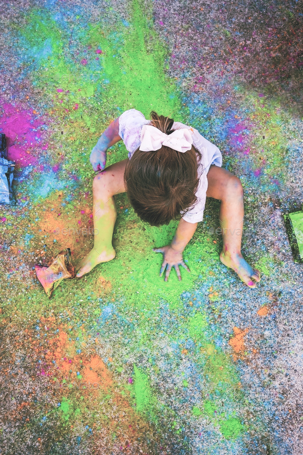 Little girl dirty of paint - Stock Photo - Images
