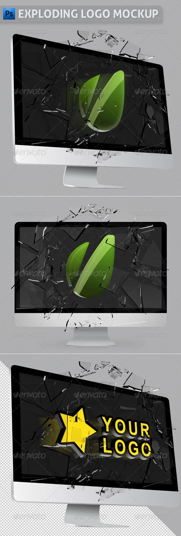 Exploding Logo Mockup - Logo Product Mock-Ups
