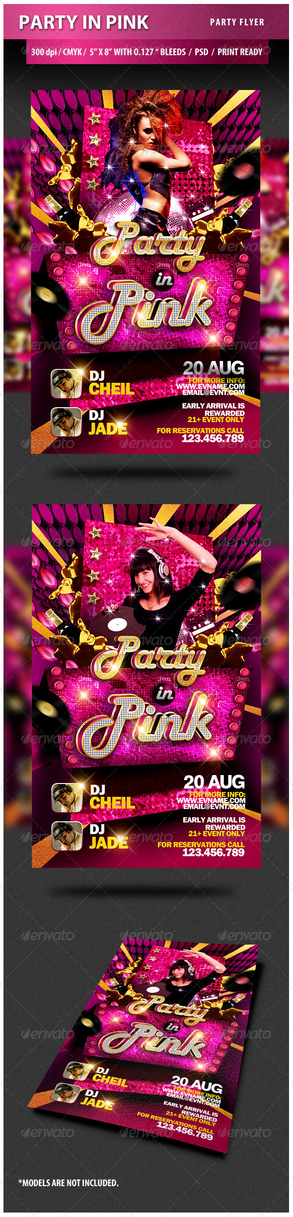 Party in Pink Party Flyer - Clubs & Parties Events