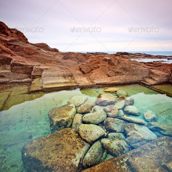 Le Vaschette water pool and stone landscape near Livorno. Italy - Stock Photo - Images