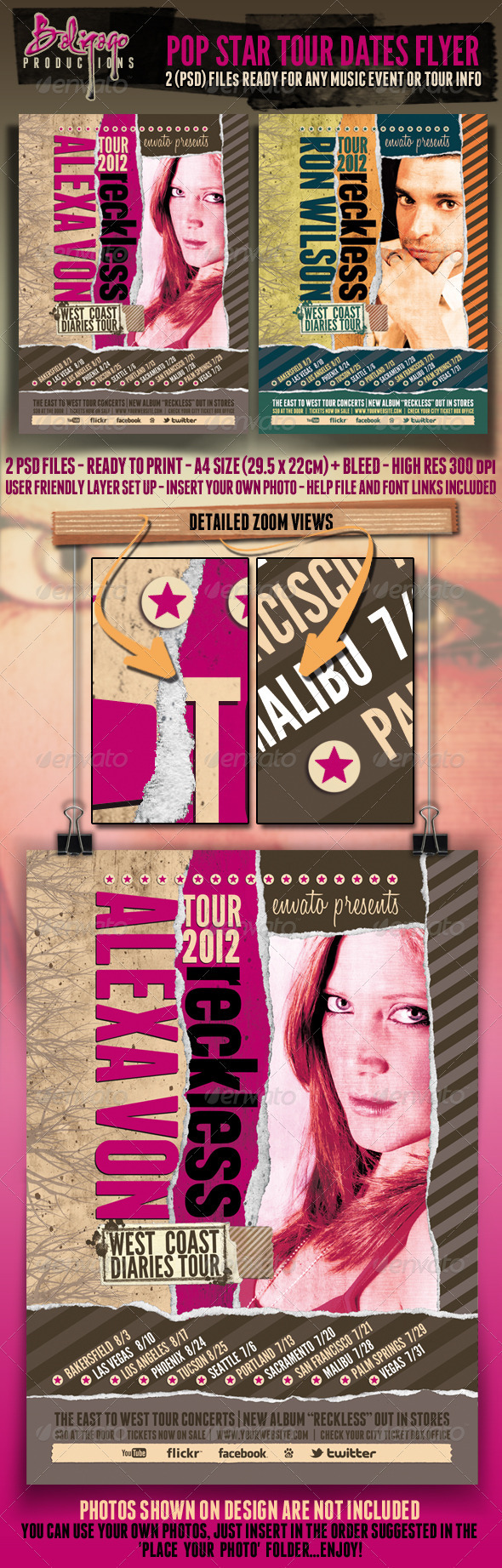 Pop Star Tour Dates Poster - Flyer - Concerts Events