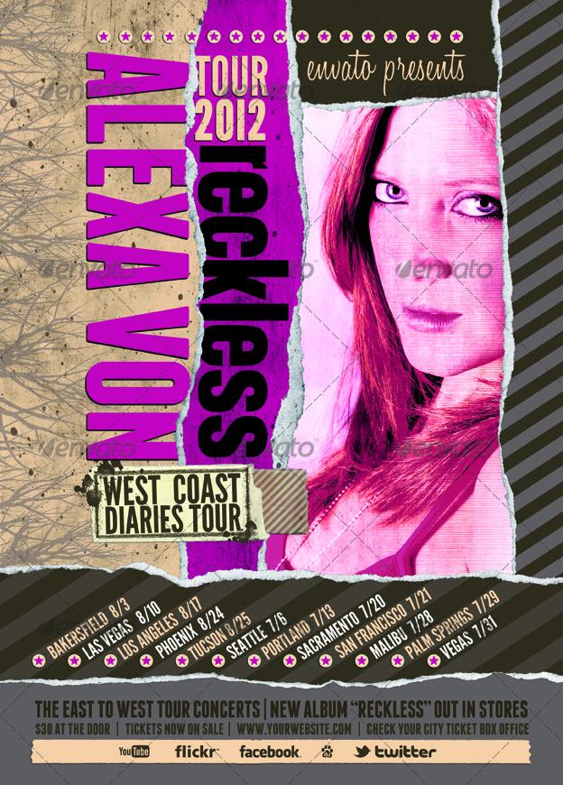 Pop Star Tour Dates Poster - Flyer