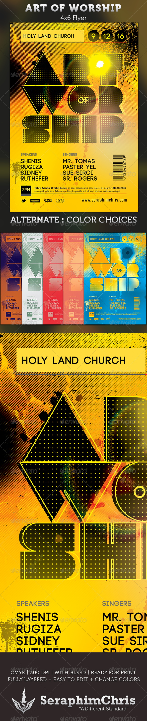 Art of Worship: Gospel Concert Flyer Template - Church Flyers