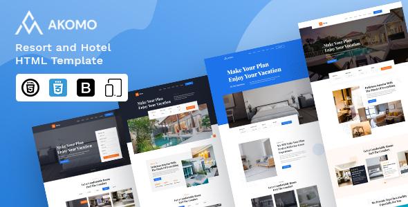 Wondrous Akomo | Resort and Hotel HTML Template