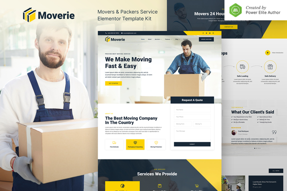 Moverie – Movers & Packers Service Elementor Template Kit