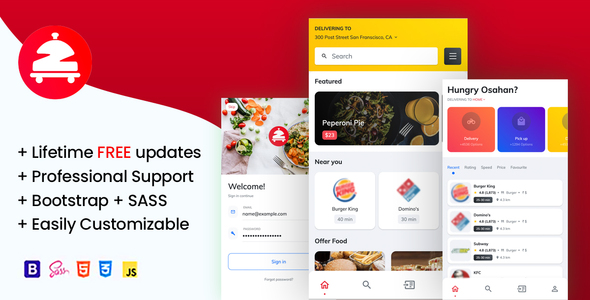 Zomoto – Food Order Directory, Restaurants, Fast Food, Bars Mobile Template