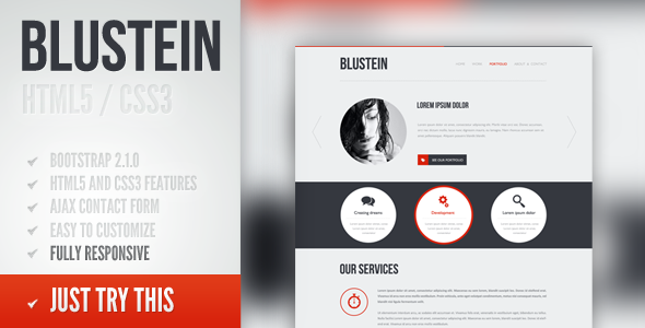 Blustein - responsive HTML5 portfolio template - Creative Site Templates