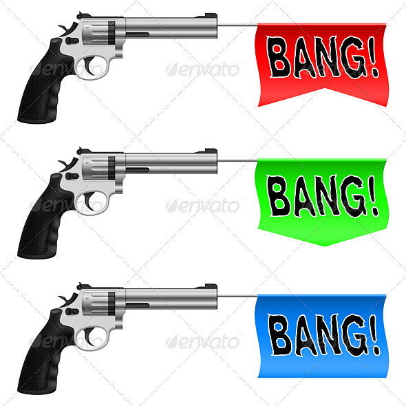 Guns with Bang Flags - Man-made Objects Objects