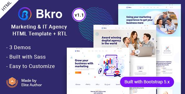 Bkro - Marketing & IT Agency HTML Template