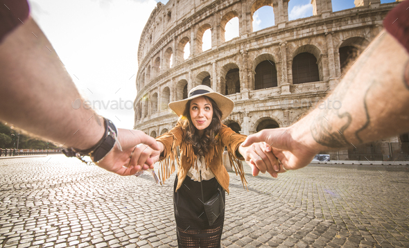 Couple at Colosseum, Rome - Stock Photo - Images