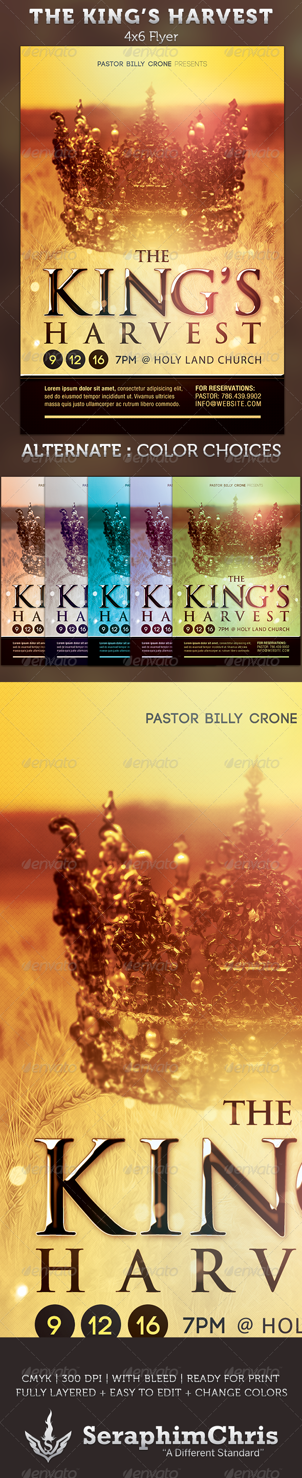 The King's Harvest: Church Flyer Template  - Church Flyers