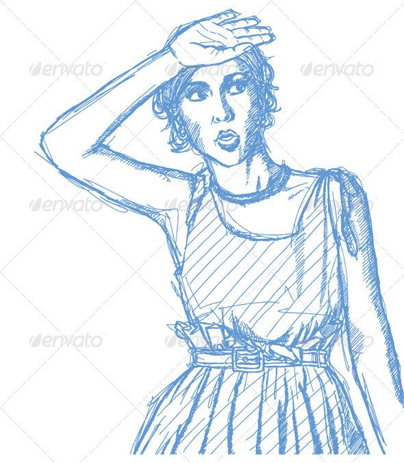 Sketch surprised girl - People Characters