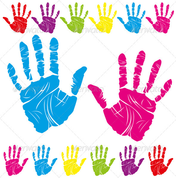 Color Hand Print - Decorative Vectors
