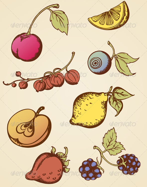 Vintage Fruits - Food Objects