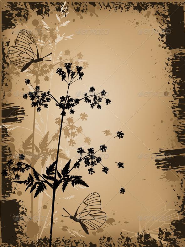 Grunge Floral Background - Backgrounds Decorative