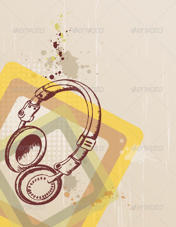 Music Background with Headphones - Retro Technology