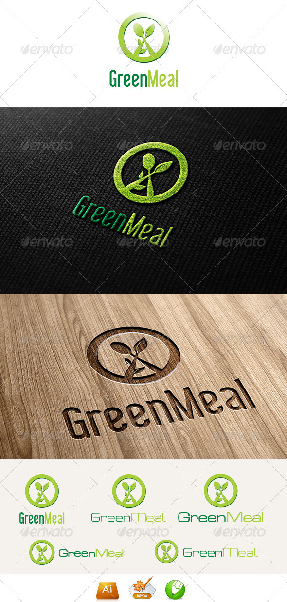 Green Meal Logo Template  - Vector Abstract