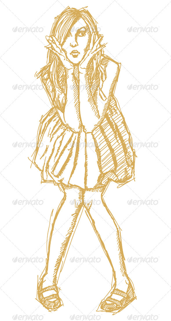Sketch surprised blonde in dress - People Characters