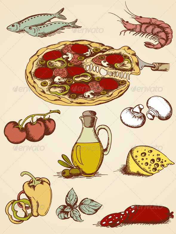 Hand Drawn Pizza Set - Food Objects