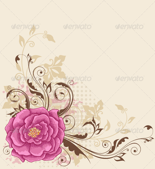 Floral Background with Rose - Backgrounds Decorative