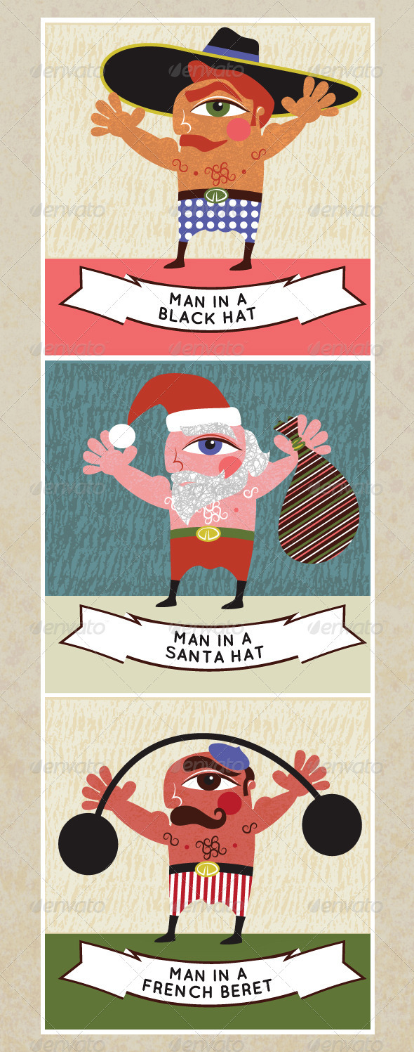 Men in Hats, 3 Quirky Retro Style Cartoons - People Characters