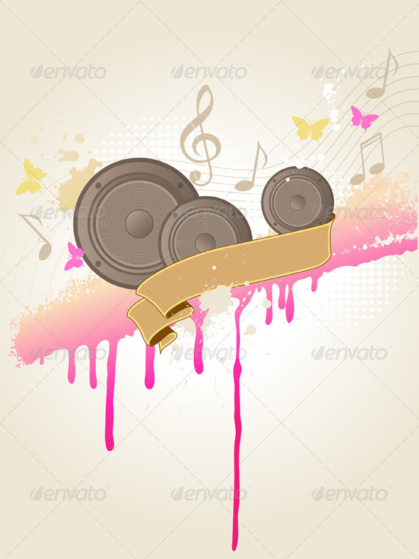Music Background with Speakers - Backgrounds Decorative