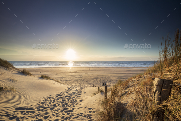 path to North sea beach in sunshine - Stock Photo - Images