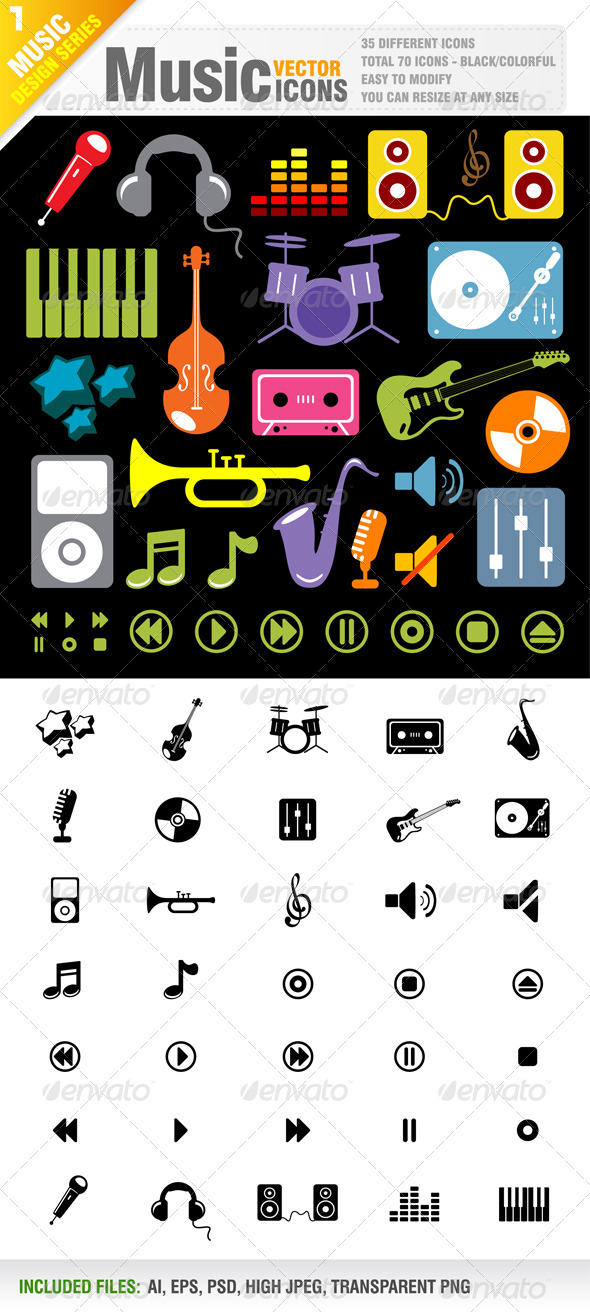 70 Music Icon Vector - Media Technology