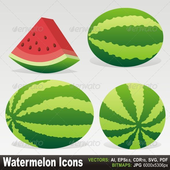 Watermelon icons - Food Objects