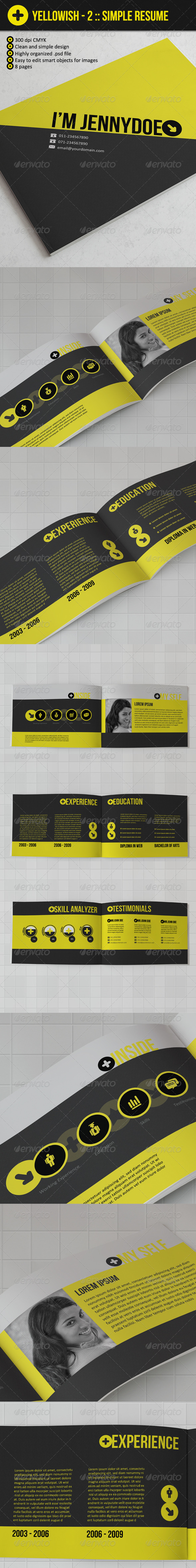 Yellowish 2 : Brochure Style Resume Booklet - Resumes Stationery
