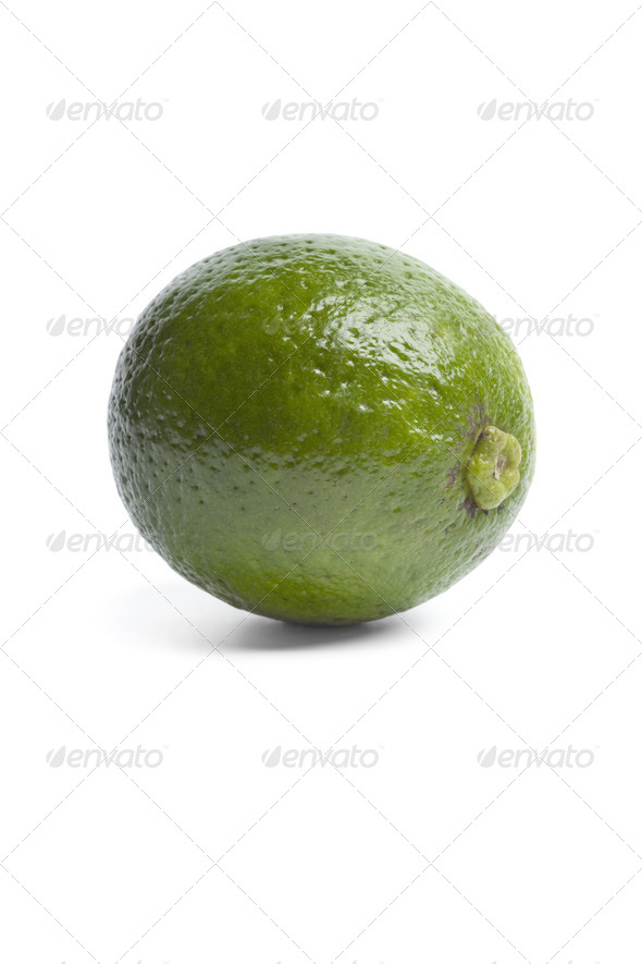 Whole single fresh lime - Stock Photo - Images