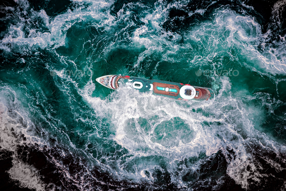 Storm waves of the sea around the ship. - Stock Photo - Images
