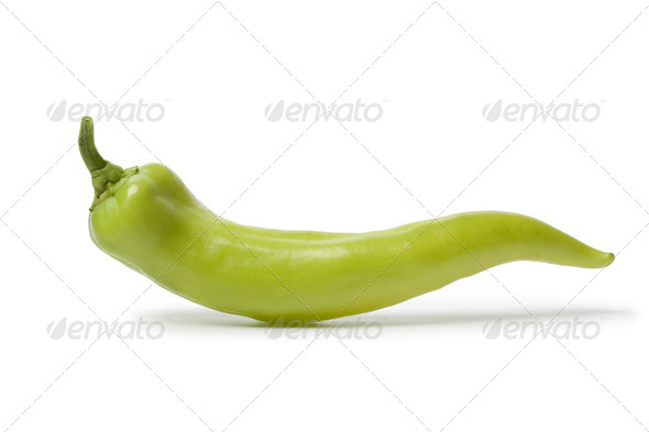 Whole single green Carliston pepper - Stock Photo - Images