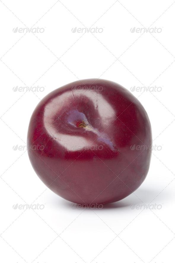 Whole single purple plum - Stock Photo - Images