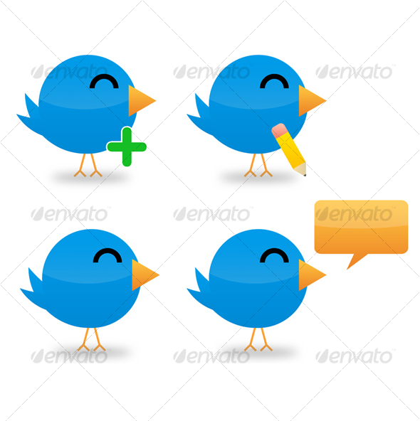 Set of 4 Twitter Icons - Web Icons