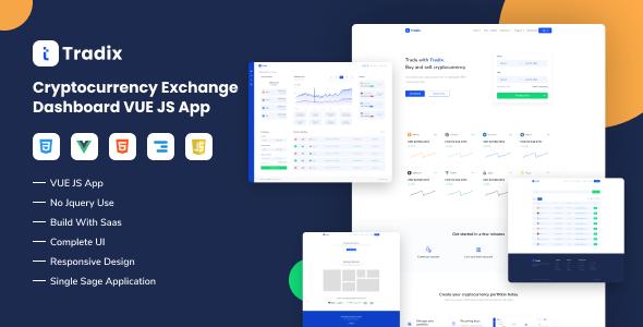 Tradix - Cryptocurrency Exchange Vuejs App