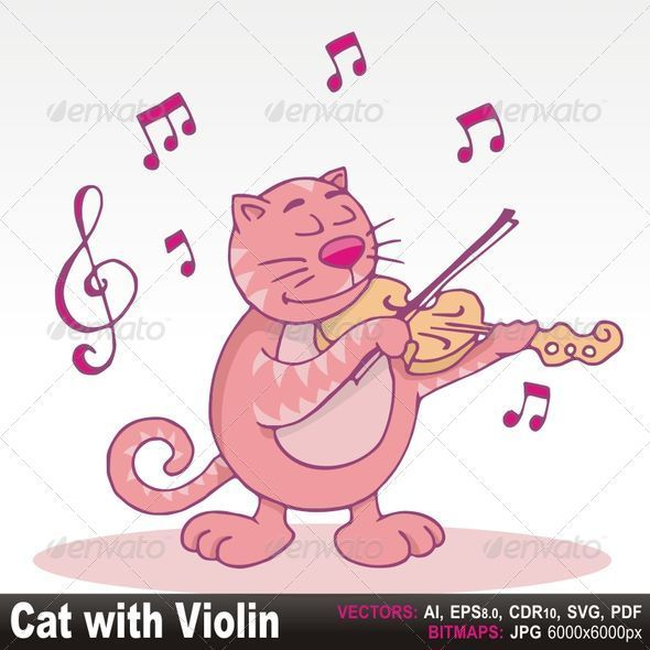 Pink cat with violin - Animals Characters