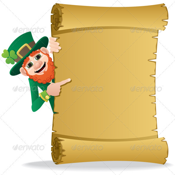 Leprechaun Scroll - Characters Vectors