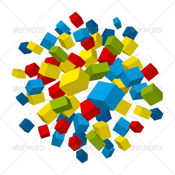 Boxes Explosion  - Abstract Conceptual