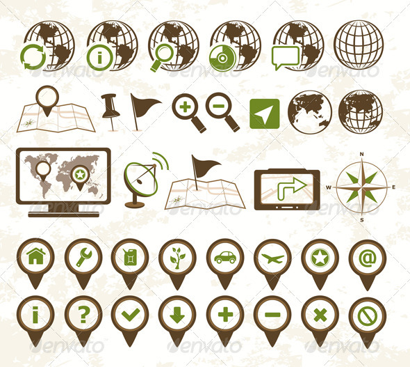 Location Icons Military Style - Travel Conceptual