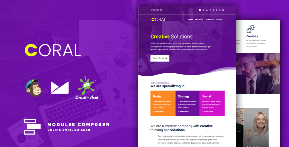 Coral - Responsive Email for Agencies, Startups & Creative Teams with Online Builder